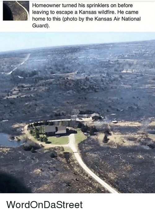 Memes, Home, and 🤖: Homeowner turned his sprinklers on before  leaving to escape a Kansas wildfire. He came  home to this (photo by the Kansas Air National  Guard) WordOnDaStreet