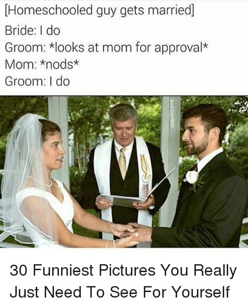 Nods: Homeschooled guy gets married]  Bride: I do  Groom: looks at mom for approval*  Mom: *nods*  Groom: I do 30 Funniest Pictures You Really Just Need To See For Yourself