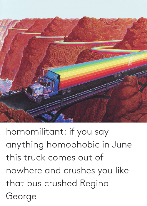 You Say: homomilitant: if you say anything homophobic in June this truck comes out of nowhere and crushes you like that bus crushed Regina George