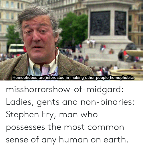 Stephen, Tumblr, and Blog: Homophobes are interested in making other people homophobic misshorrorshow-of-midgard:  Ladies, gents and non-binaries: Stephen Fry, man who possesses the most common sense of any human on earth.