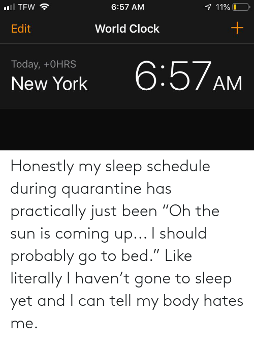 """my body: Honestly my sleep schedule during quarantine has practically just been """"Oh the sun is coming up... I should probably go to bed."""" Like literally I haven't gone to sleep yet and I can tell my body hates me."""