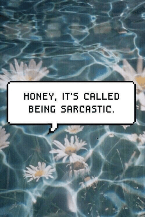 sarcastic: HONEY, IT'S CALLED  BEING SARCASTIC