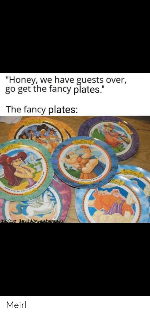 "Fancy, MeIRL, and Honey: ""Honey, we have guests over,  go get the fancy plates.""  The fancy plates:  RICKLA  Insta: luciddreaminmemes Meirl"
