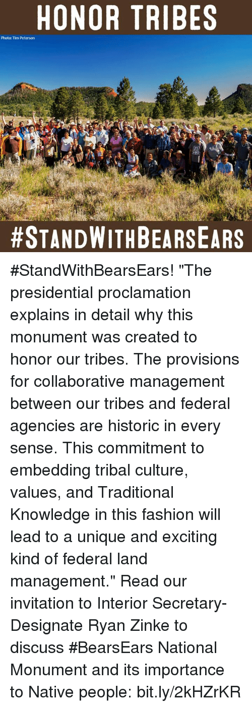 "Memes, Historical, and 🤖: HONOR TRIBES  Photo: Tim Peterson  #StandWithBearsEars! ""The presidential proclamation explains in detail why this monument was created to honor our tribes. The provisions for collaborative management between our tribes and federal agencies are historic in every sense. This commitment to embedding tribal culture, values, and Traditional Knowledge in this fashion will lead to a unique and exciting kind of federal land management.""  Read our invitation to Interior Secretary-Designate Ryan Zinke to discuss #BearsEars National Monument and its importance to Native people: bit.ly/2kHZrKR"