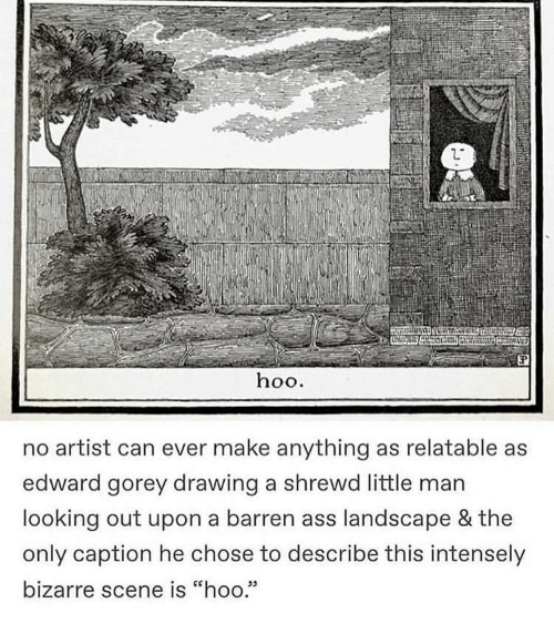 "little man: hoo.  no artist can ever make anything as relatable as  edward gorey drawing a shrewd little man  looking out upon a barren ass landscape & the  only caption he chose to describe this intensely  bizarre scene is ""hoo.""  05"