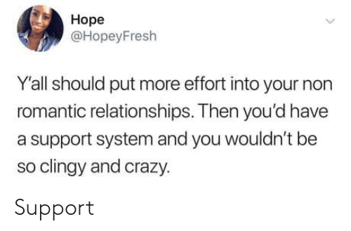 Relationships: Hope  @HopeyFresh  Yall should put more effort into your non  romantic relationships. Then you'd have  a support system and you wouldn't be  so clingy and crazy.  > Support