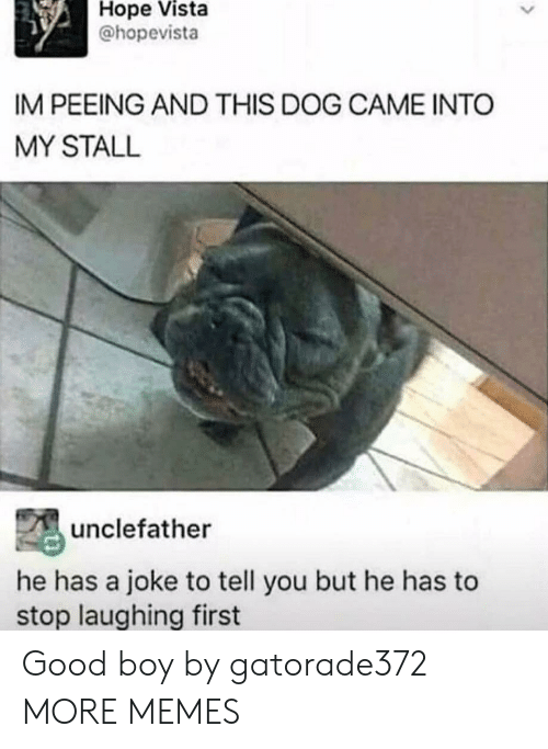 Dank, Memes, and Target: Hope  Vista  @hopevista  IM PEEING AND THIS DOG CAME INTO  MY STALL  unclefather  he has a joke to tell you but he has to  stop laughing first Good boy by gatorade372 MORE MEMES