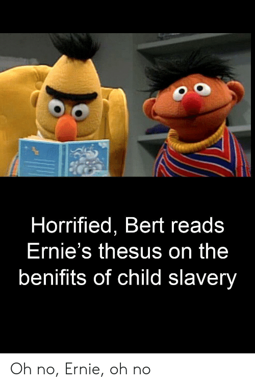 Horrified Bert Reads Ernie S Thesus On The Benifits Of Child