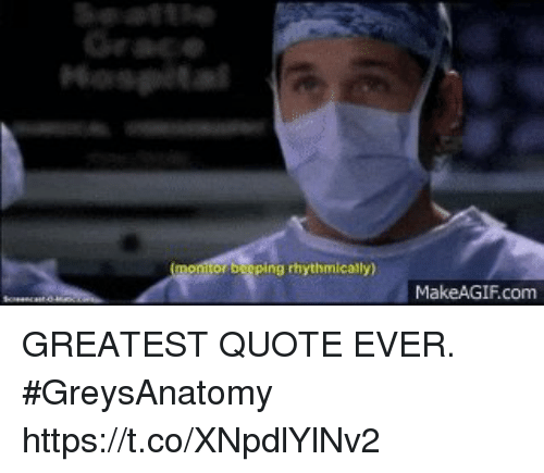Makeagif Com: Hospita  or berping rhythmically)  MakeAGIF.com GREATEST QUOTE EVER. #GreysAnatomy https://t.co/XNpdlYlNv2