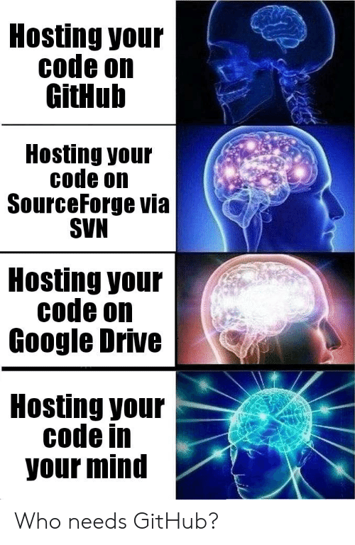 Google, Drive, and Mind: Hosting your  code on  GitHub  Hosting your  code on  SourceForge via  SVN  Hosting your  code on  Google Drive  Hosting your  code in  your mind Who needs GitHub?