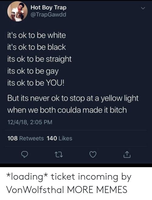 Bitch, Dank, and Memes: Hot Boy Trap  @TrapGawdd  it's ok to be white  it's ok to be black  its ok to be straight  its ok to be gay  its ok to be YOU!  But its never ok to stop at a yellow light  when we both coulda made it bitch  12/4/18, 2:05 PM  108 Retweets 140 Likes *loading* ticket incoming by VonWolfsthal MORE MEMES