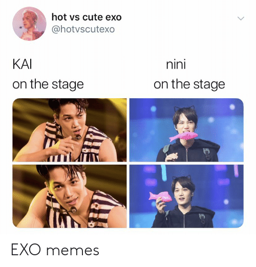 Nini: hot vs cute exo  @hotvscutexo  nini  KAI  on the stage  on the stage EXO memes