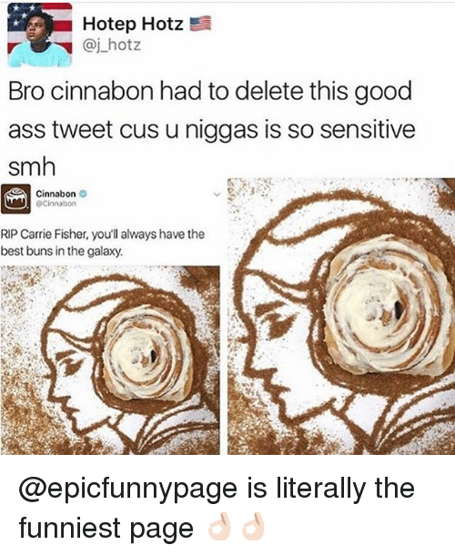 Ass, Carrie Fisher, and Memes: Hotep Hotz !  Bro cinnabon had to delete this good  ass tweet cus u niggas is so sensitive  smh  Cinnabon  RIP Carrie Fisher, you'll always have the  best buns in the galaxy. @epicfunnypage is literally the funniest page 👌🏻👌🏻