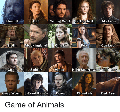 Animals, Ass, and Bad: HoundCat  Young WolfLittle Bird  My Lion  Sloth MockingbirdChick  FOX  CuckoO  Cock  Spider  ViperHighSparrow Bad Pussy  Grey Worm 3-Eyed Raven Crow  Cheetah  Dat Ass