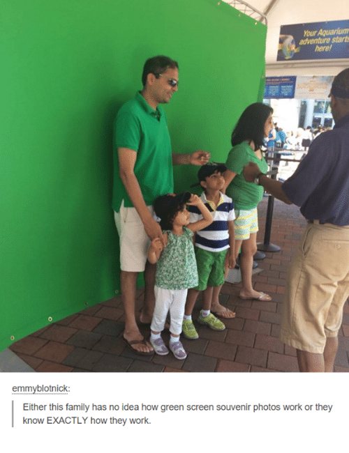 Family, Funny, and Work: hourAquariumn  adventure starts  emmyblotnick:  Either this family has no idea how green screen souvenir photos work or they  know EXACTLY how they work.