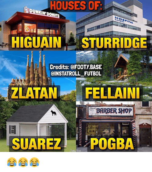 Barbershop, Memes, and Hospital: HOUSES OF  HOSPITAL  HIGUAINA STURRIDGE  Credits: @FOOTYBASE  OINSTATROLL FUTBOL  ZLATAN FELLAINI  BARBERSHOP  SUAREZ POGBA 😂😂😂