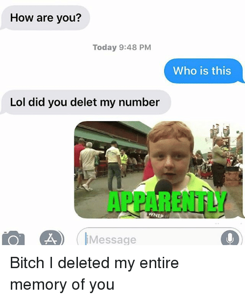 Apparently, Bitch, and Lol: How are you?  Today 9:48 PM  Who is this  Lol did you delet my number  ANT  APPARENTLY  WNEP  Message Bitch I deleted my entire memory of you