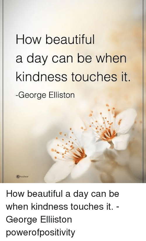 Beautiful, Memes, and Kindness: How beautiful  a day can be when  kindness touches it  -George Elliston How beautiful a day can be when kindness touches it. - George Elliiston powerofpositivity