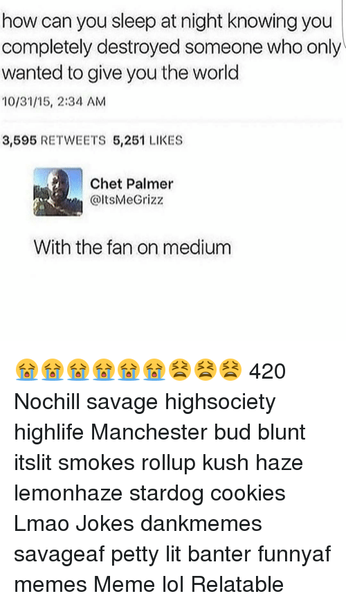 Blunts, Memes, and 🤖: how can you sleep at night knowing you  completely destroyed someone who only  wanted to give you the world  10/31/15, 2:34 AM  3,595  REE TWEETS 5,251 LIKES  Chet Palmer  With the fan on medium 😭😭😭😭😭😭😫😫😫 420 Nochill savage highsociety highlife Manchester bud blunt itslit smokes rollup kush haze lemonhaze stardog cookies Lmao Jokes dankmemes savageaf petty lit banter funnyaf memes Meme lol Relatable