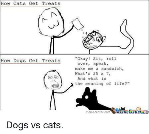 Funny, Sandwich, and Meaning of Life: How Cats Get Treats  How Dogs Get Treats  Okay! Sit  roll.  over, speak  make me a sandwich,  What's 25 x 7,  And what is  the meaning of life  memecenter com Dogs vs cats.