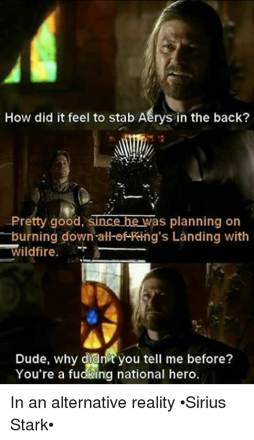 Dude, Memes, and Good: How did it feel to stab Aerys in the back?  Pretty good, since be was planning on  burning down all of King's Landing with  Wildfire.  Dude, why didnt you tell me before?  You're a fudking national hero. In an alternative reality •Sirius Stark•