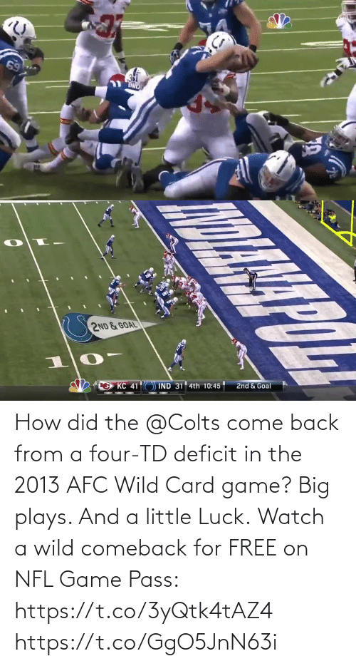Four: How did the @Colts come back from a four-TD deficit in the 2013 AFC Wild Card game?  Big plays. And a little Luck.  Watch a wild comeback for FREE on NFL Game Pass: https://t.co/3yQtk4tAZ4 https://t.co/GgO5JnN63i