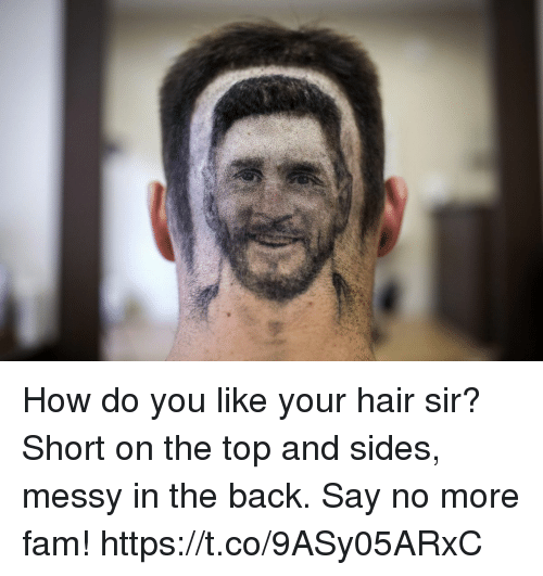 Fam, Memes, and Hair: How do you like your hair sir?   Short on the top and sides, messy in the back.   Say no more fam! https://t.co/9ASy05ARxC