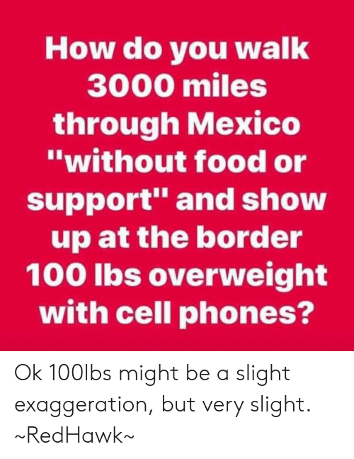 "Food, Memes, and Mexico: How do you walk  3000 miles  through Mexico  ""without food or  support"" and show  up at the border  100 lbs overweight  with cell phones? Ok 100lbs might be a slight exaggeration, but very slight. ~RedHawk~"