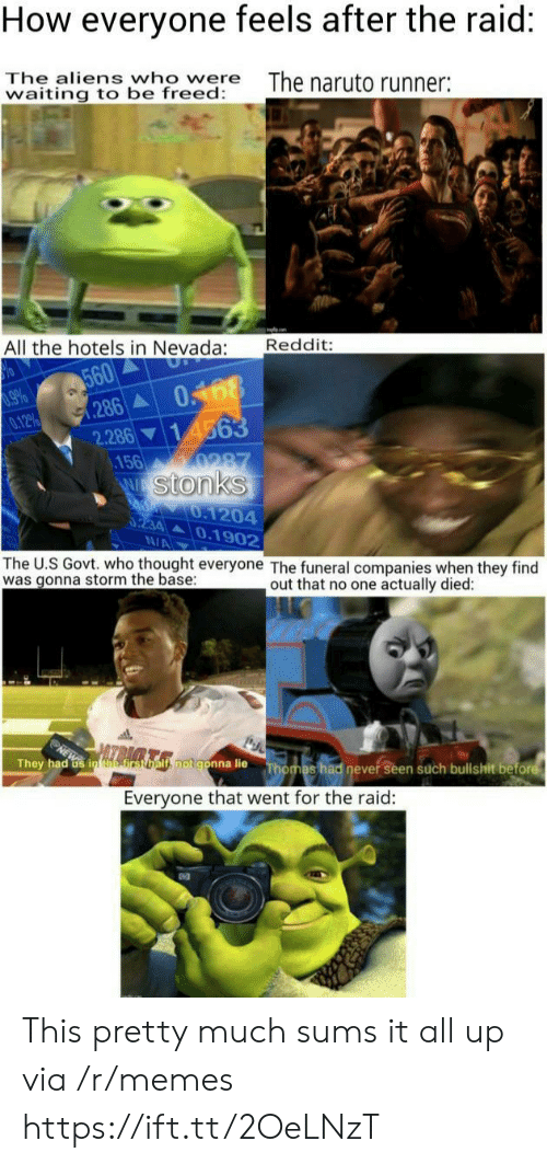 Memes, Naruto, and Reddit: How everyone feels after the raid:  The aliens who were  waiting to be freed:  The naruto runner:  Reddit:  All the hotels in Nevada:  560  286  0168  14563  9660  0.12%  2.286  .156  0287  W Stonks  d 0.1204  0234 0.1902  N/A  The U.S Govt. who thought everyone The funeral companies when they find  was gonna storm the base  out that no one actually died:  ls rsomls.notgonna lie  They had Gs in efirst  Thomas had never seen such bullshit before  Everyone that went for the raid: This pretty much sums it all up via /r/memes https://ift.tt/2OeLNzT