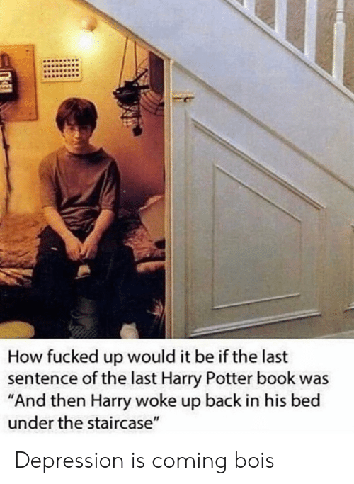 "Harry Potter, Book, and Depression: How fucked up would it be if the last  sentence of the last Harry Potter book was  ""And then Harry woke up back in his bed  under the staircase"" Depression is coming bois"