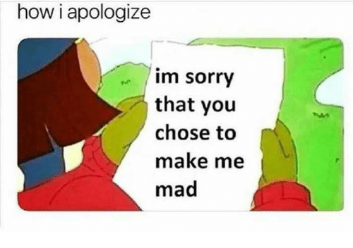 Memes, Sorry, and Mad: how i apologize  im sorry  that you  chose to  make me  mad