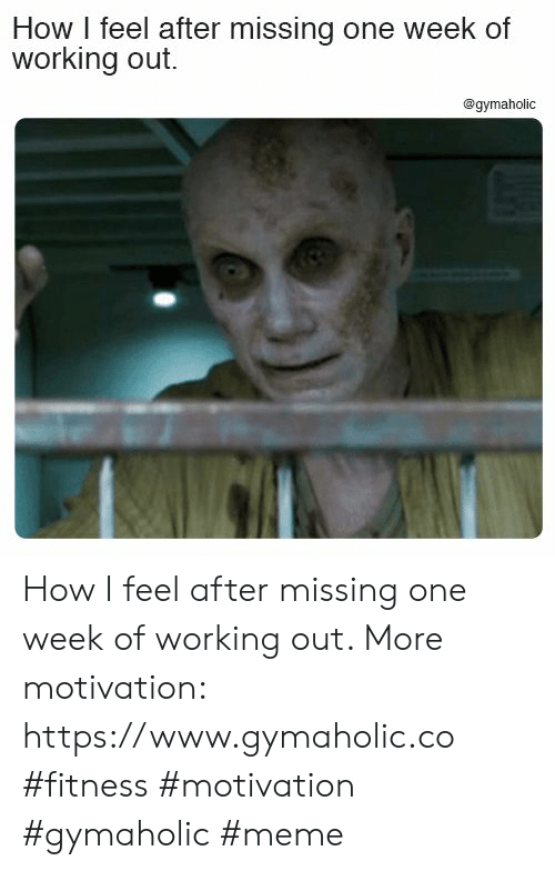 Meme, Working Out, and Fitness: How I feel after missing one week of  working out.  @gymaholic How I feel after missing one week of working out.  More motivation: https://www.gymaholic.co  #fitness #motivation #gymaholic #meme