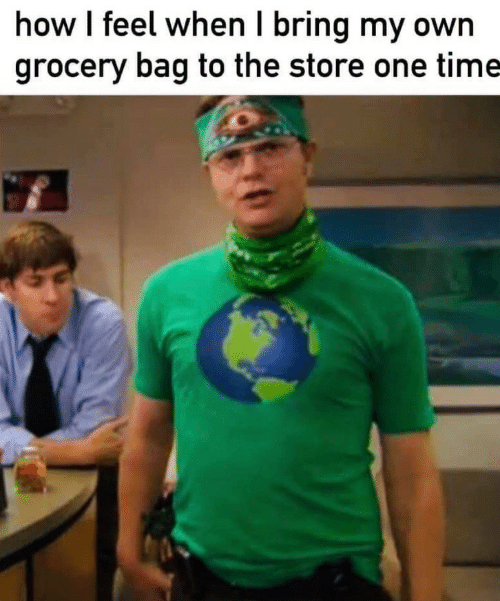 how i feel when: how I feel when I bring my own  grocery bag to the store one time