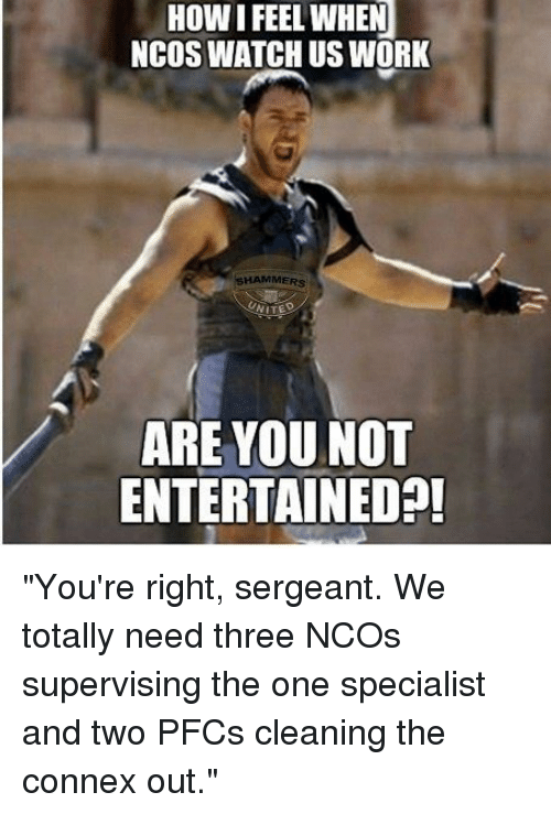 "how i feel when: HOW I FEEL WHEN  NCOS WATCH US WORK  SHAMMERS  ARE YOU NOT  ENTERTAINEDA! ""You're right, sergeant. We totally need three NCOs supervising the one specialist and two PFCs cleaning the connex out."""