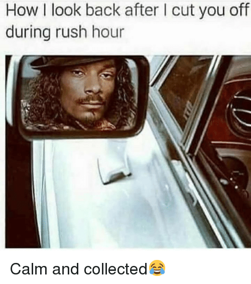 Rush Hour, Rush, and Hood: How I look back after I cut you off  during rush hour Calm and collected😂
