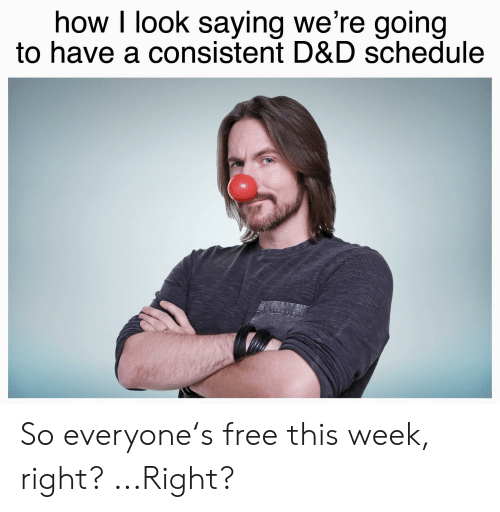Free, Schedule, and DnD: how I look saying we're going  to have a consistent D&D schedule So everyone's free this week, right? ...Right?