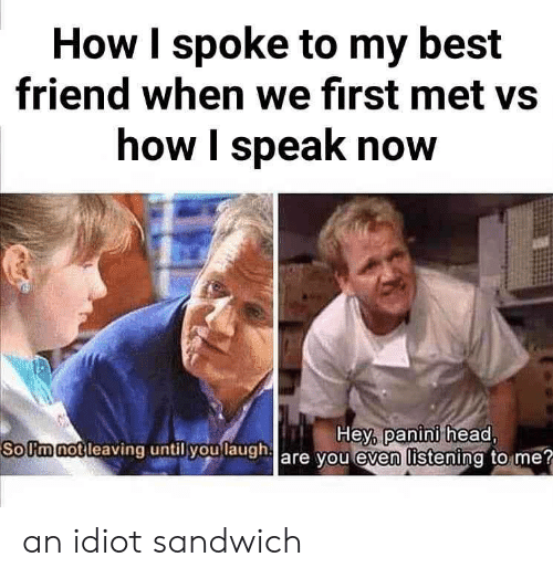 Best Friend, Head, and Best: How I spoke to my best  friend when we first met vs  how I speak now  SoUm not l  leaving until you laugh  Hey, panini head  are you even listening to me? an idiot sandwich