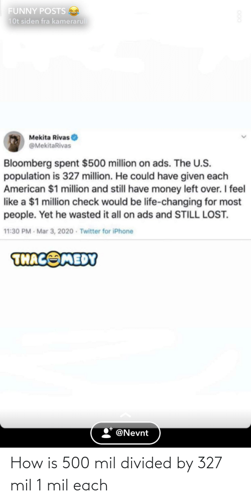 Divided: How is 500 mil divided by 327 mil 1 mil each