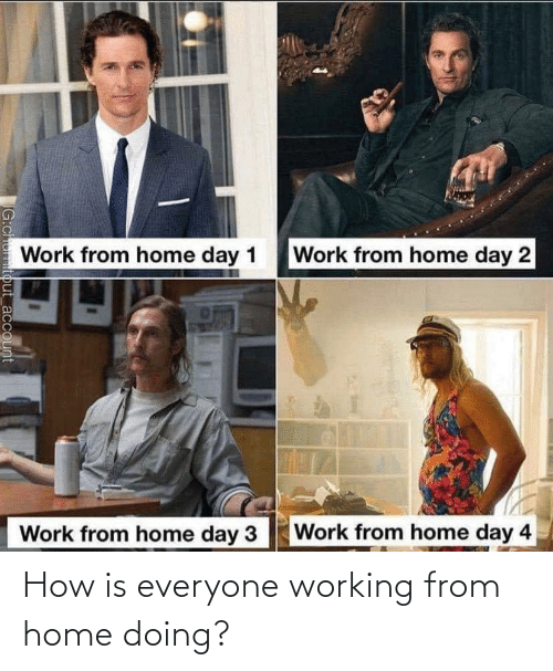 everyone: How is everyone working from home doing?