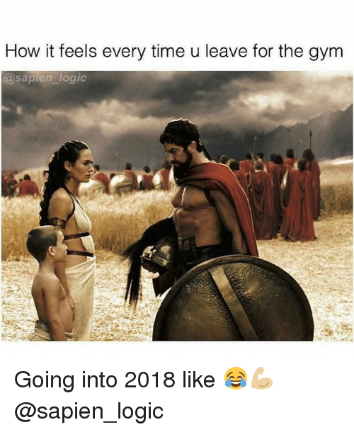Gym, Logic, and Time: How it feels every time u leave for the gym  @saplen logi Going into 2018 like 😂💪🏼 @sapien_logic