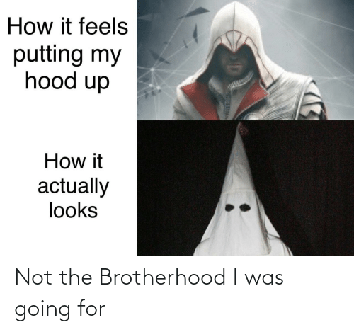 Hood, How, and Brotherhood: How it feels  putting my  hood up  How it  actually  looks Not the Brotherhood I was going for