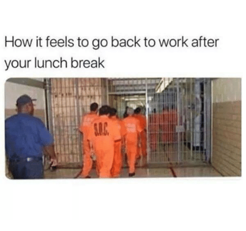 Funny, Work, and Break: How it feels to go back to work after  your lunch break
