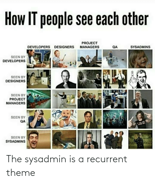 Designers: How IT people see each other  PROJECT  MANAGERS  SYSADMINS  DEVELOPERS DESIGNERS  QA  SEEN BY  DEVELOPERS  SEEN BY  DESIGNERS  SEEN BY  PROJECT  MANAGERS  SEEN BY  QA  AMD US  SEEN BY  SYSADMINS The sysadmin is a recurrent theme