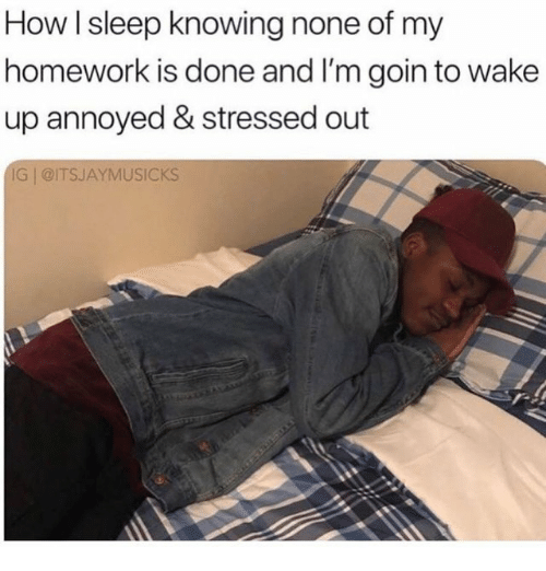 Homework, Sleep, and Annoyed: How l sleep knowing none of my  homework is done and I'm goin to wake  up annoyed & stressed out  IG @ITSJAYMUSICks