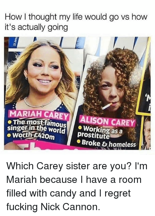 Candy, Fucking, and Homeless: How l thought my life would go vs how  it's actually going  MARIAH CAREY ALISON CAREY  oThe mostfamousWorking as a  singerinthe world  prostitute  Broke & homeless Which Carey sister are you? I'm Mariah because I have a room filled with candy and I regret fucking Nick Cannon.