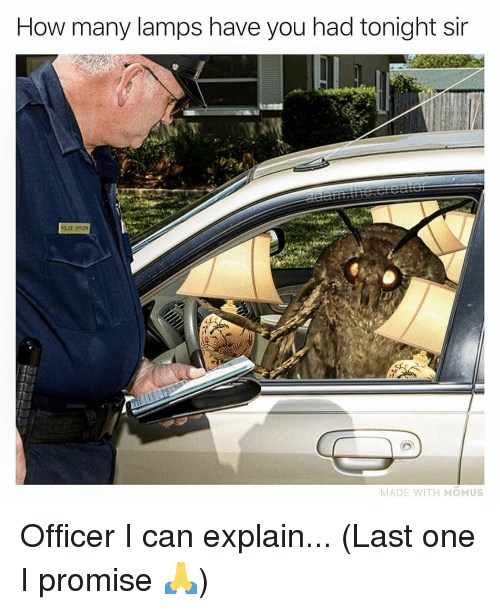 Memes, 🤖, and How: How many lamps have you had tonight sir  MADE WITH MOMUS Officer I can explain... (Last one I promise 🙏)