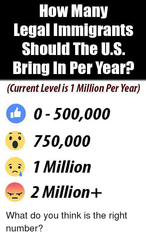 Memes, 🤖, and How: How Many  Legal Tmmigrants  Should The U.S.  Bring In Per Year?  (Current Level is 1 Million Per Year)  0 500,000  750,000  1 Million  2 Million+ What do you think is the right number?