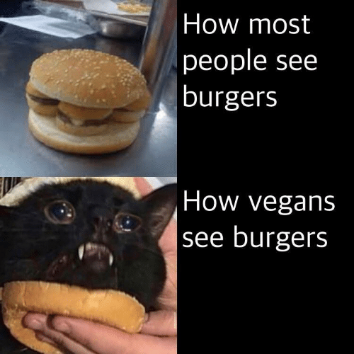 Most People: How most  people see  burgers  How vegans  see burgers