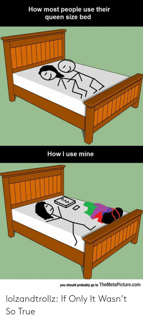 True, Tumblr, and Queen: How most people use their  queen size bed  How I use mine  you should probably go to TheMetaPicture.com lolzandtrollz:  If Only It Wasn't So True