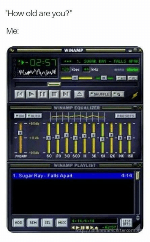 """Equalizer: How old are you?""""  Me  WINAMP  mano stereo  WINAMP EQUALIZER  20at  PREAMP  60 170 310 600匡 38 6K 12K 14K 16K  WINAMP PLAYLIST =  1. Sugar Ray Falls Apart  4:14  14/4 14  ADO REM SEL MİSC  terco"""